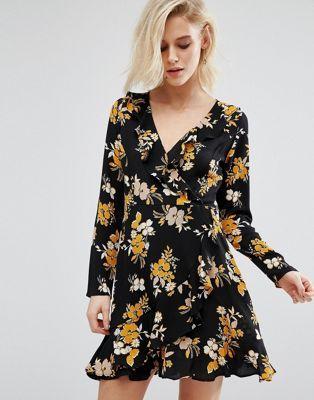 Boohoo Floral Ruffle Wrap Tea Dress Fashion Latest Fashion Clothes Tea Dress