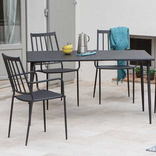 Salon de jardin table et 4 fauteuils en acier anthracite Bruge ...