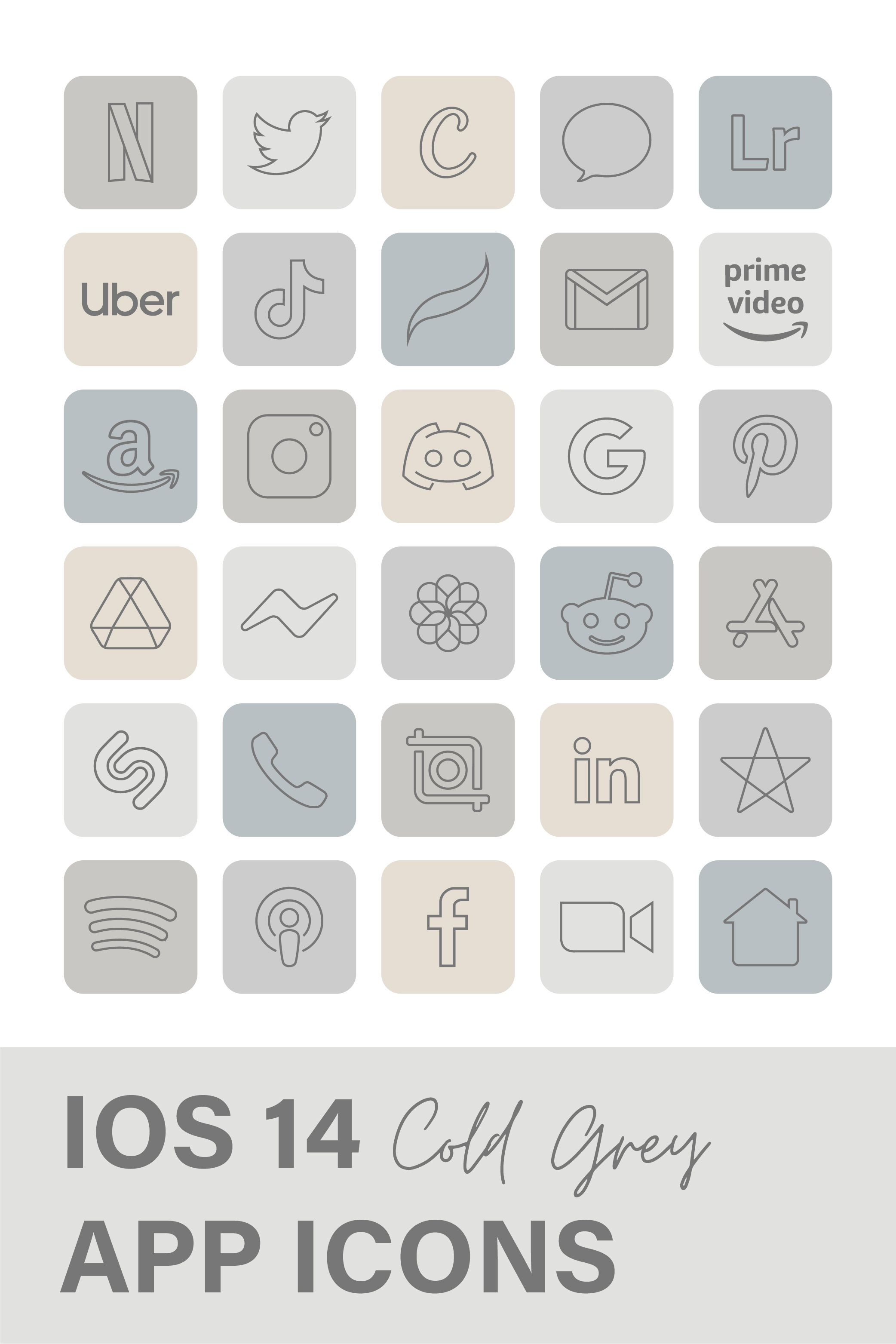 OS 14 App Icon | Pastel Cold Grey Aesthetic App Ic