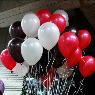 10 Inch White Black Red Party Balloons for Party Decoration