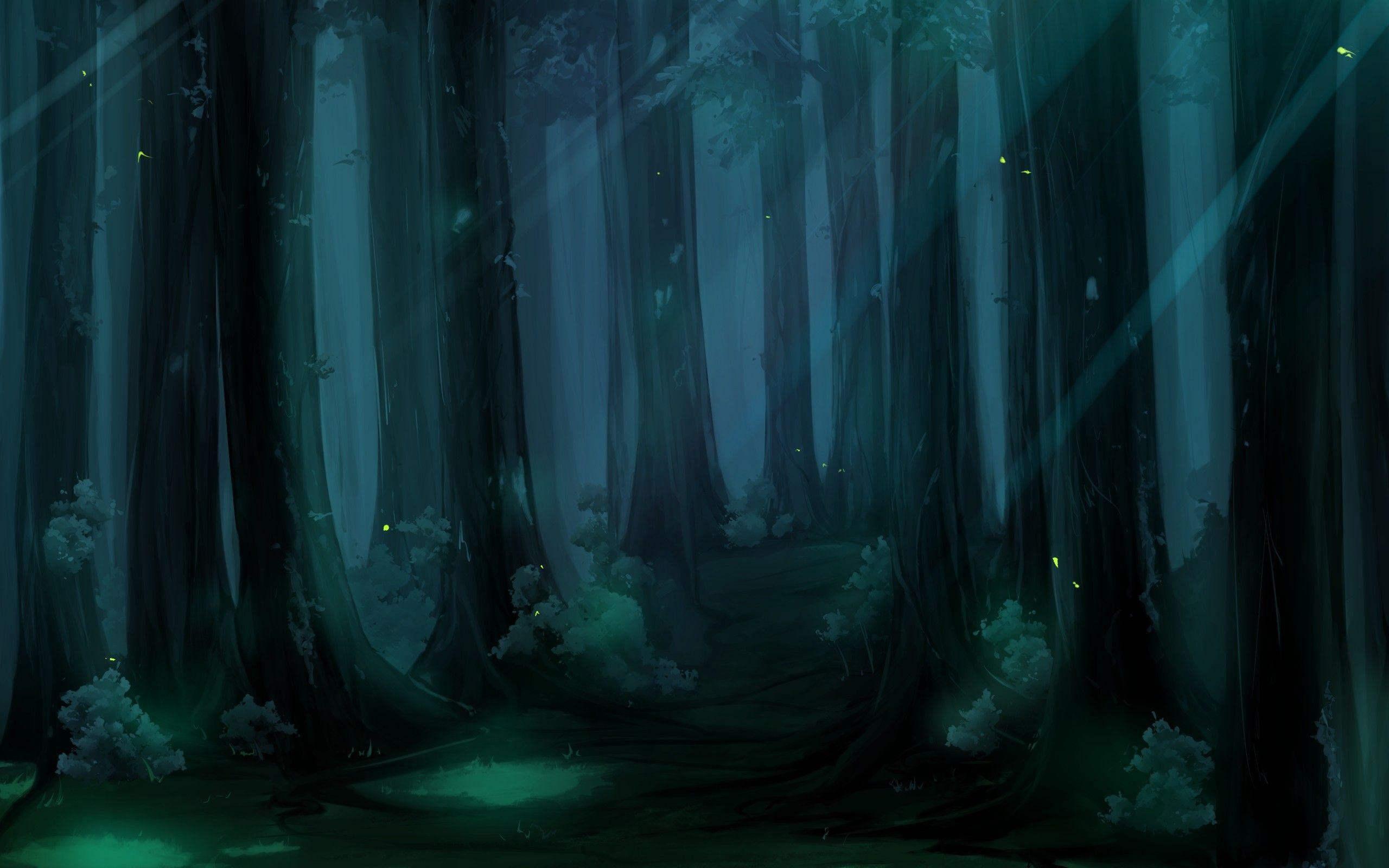 Ночной лес рисунок букет вязаных