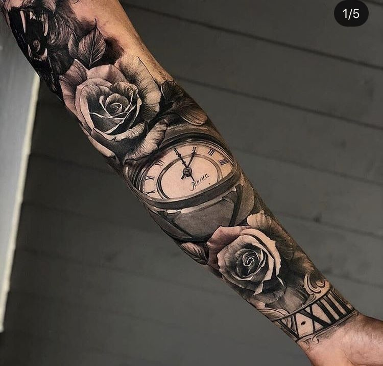 Rose Sleeve Tattoo Tats Pinterest Tatouage Tatouage Bras And