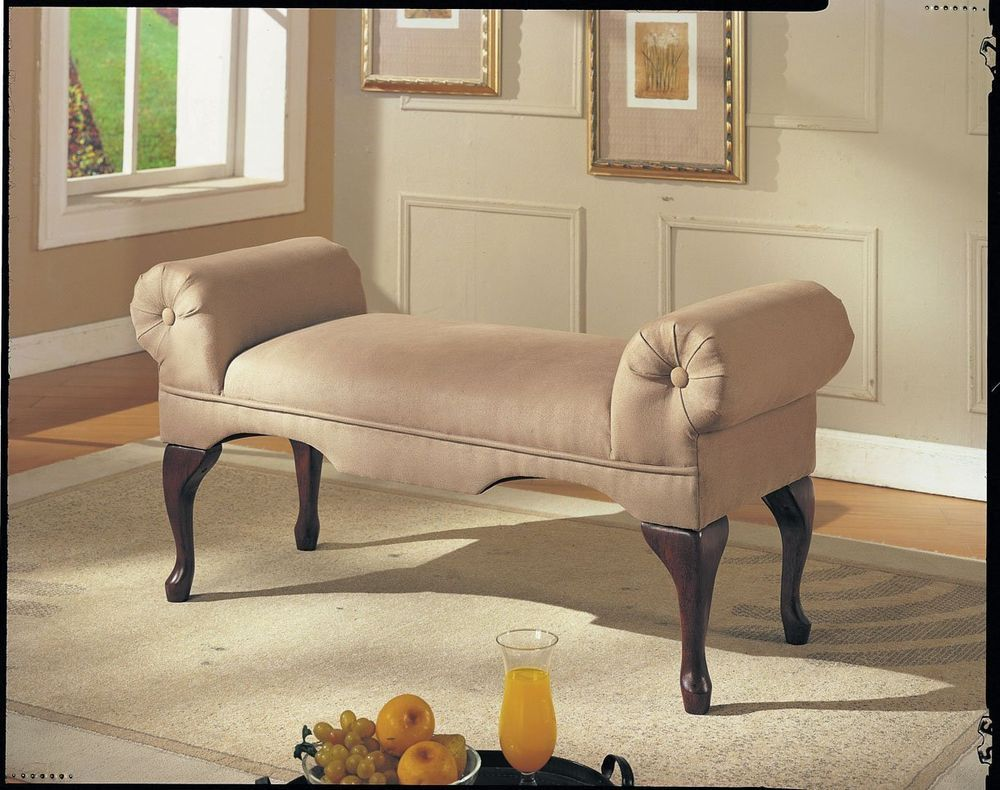 Bench Rolled Arm Vanity Seat Chair Lounge Chaise Bedroom Foyer Accent Furniture Furniture Acme Furniture Upholstered Bench