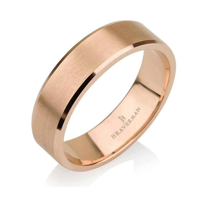 Rose Gold Men S Wedding Band Brushed Men S Or Women S Unisex 5 5mm Flat Top And Beveled Mens Gold Wedding Band Rose Gold Mens Wedding Band Mens Wedding Bands