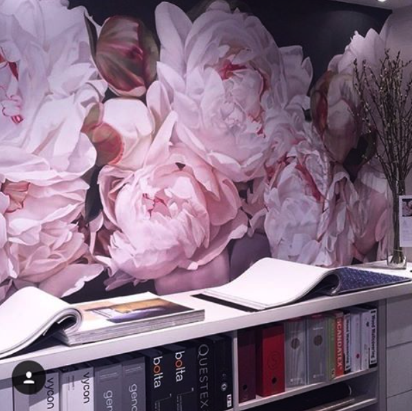 """""""Peonies White"""" Thomas Darnell in our Vancouver showroom Crown Wallpaper +Fabric"""