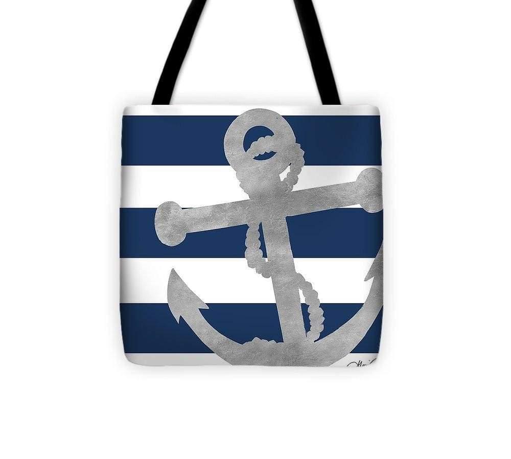 Silver Coastal On Blue Stripe I Tote Bag | Products