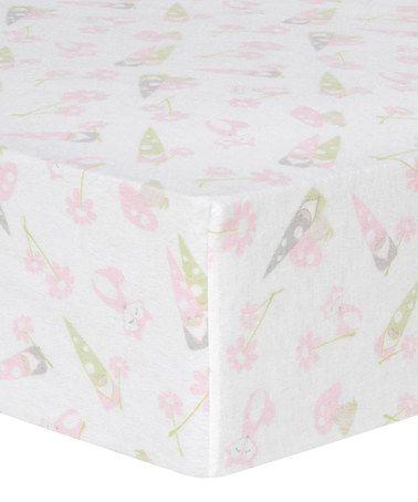 $13.99 Look at this #zulilyfind! Pink & Green Garden Gnomes Flannel Fitted Crib Sheet #zulilyfinds
