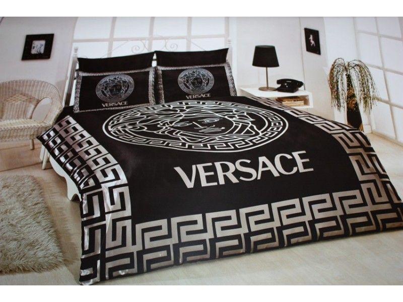 Black Satin Comforter Versace Bedding Set Satin Medusa Duvet