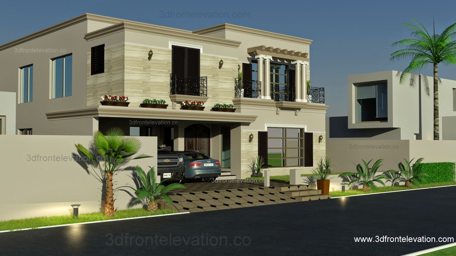 1 Kanal Spanish House Design Plan Dha Lahore Pakistan House Elevation Orieo Pinterest