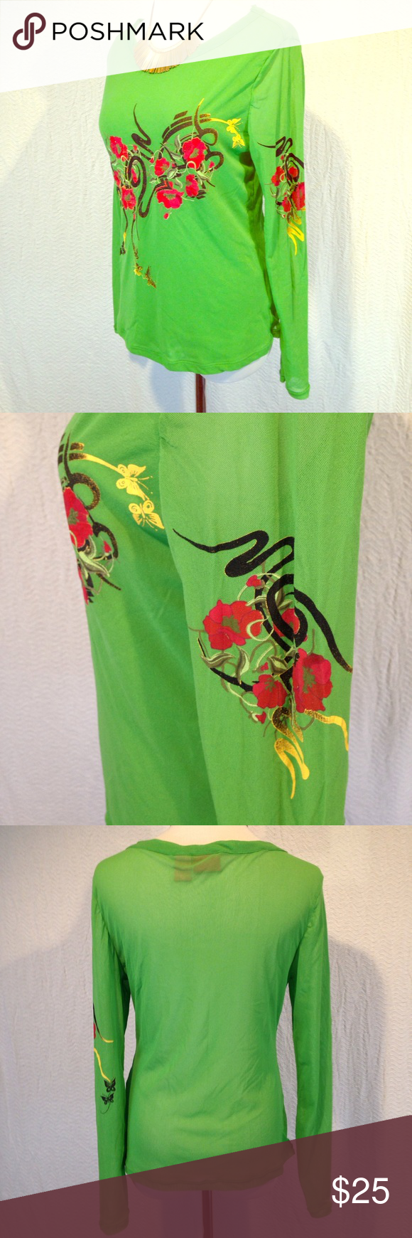 Size large vintage Asian inspired mesh green shirt This vintage size large mesh long sleeve green shirt is in excellent used condition. Has Asian inspired design on the front and left sleeve. Funky and bold look. Is one layer of mesh on the back and two layers of mesh on the front. Looks great over top of a swimsuit or a crop top underneath. Please see photos. Please ask any questions before purchasing. Vintage Tops Tees - Long Sleeve