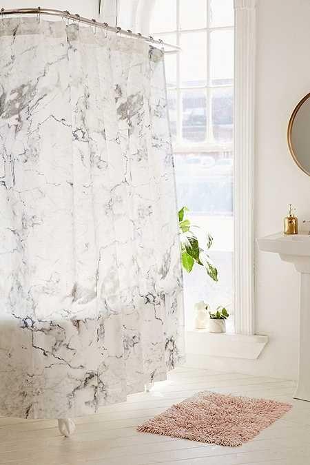 Duschvorhang In Marmoriertem Design In Schwarz Und Weiss Marble