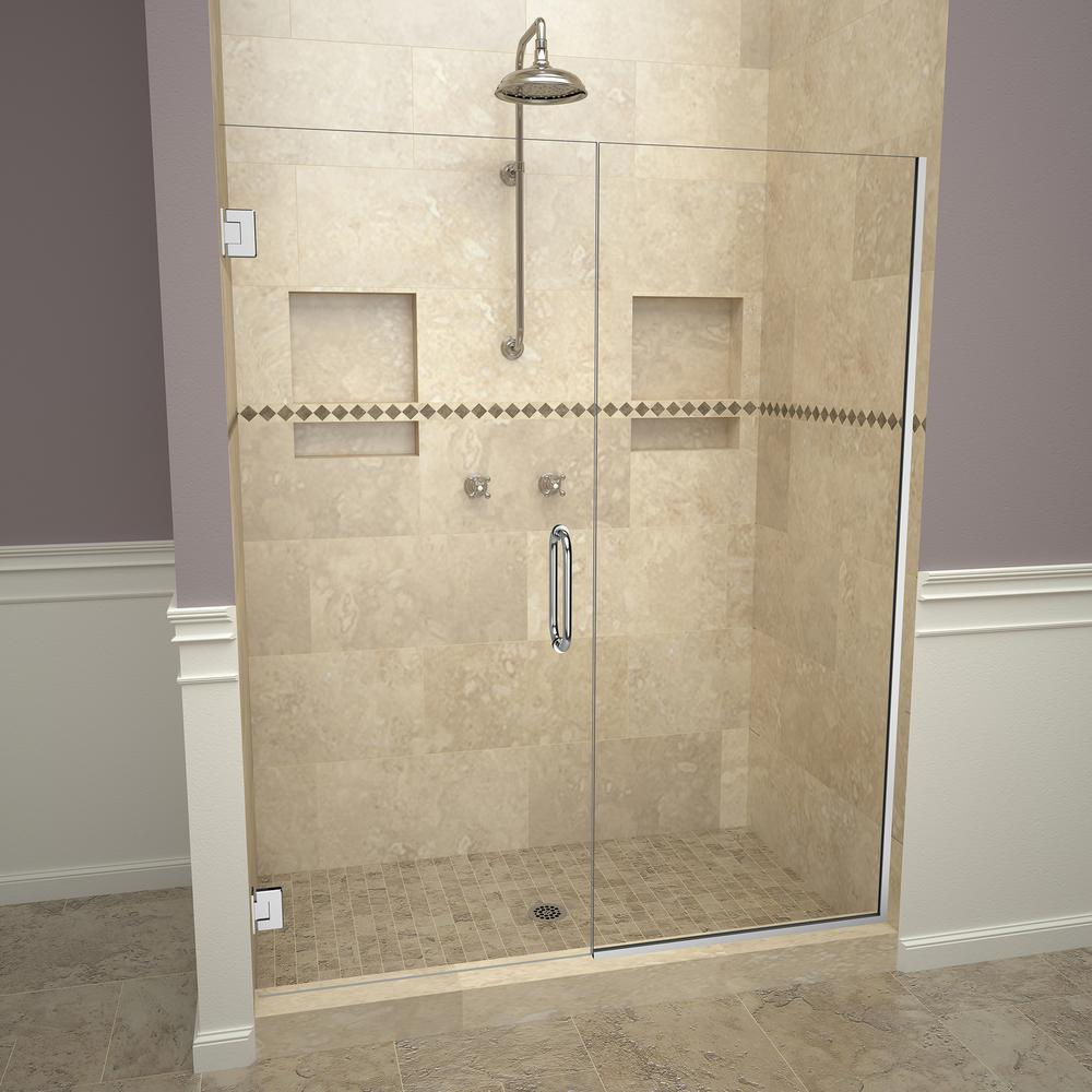 Redi Swing 2000v Series 46 In W X 72 In H Semi Frameless Pivot Shower Door In Polished Chrome With Pull Handles And Clear Glass Shower Doors Frameless Shower Doors Frameless Sliding