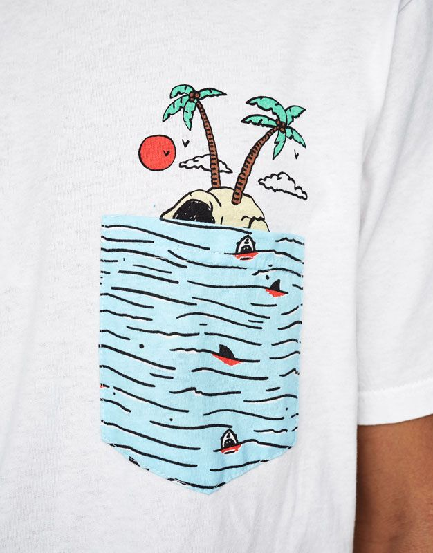 T Shirt With Island Print Pocket Shirts Clothing Man