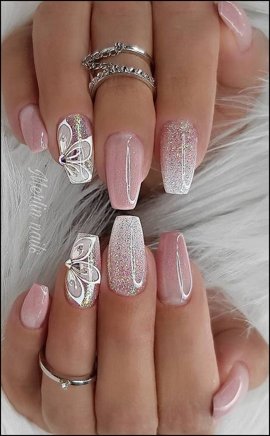 113 Elegant Nail Designs For Short Nails Page 6 Myblogika Com Nail Designs Glitter Glitter Nails Acrylic Bright Nail Designs