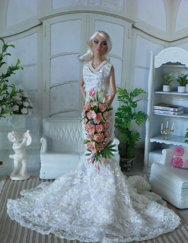 Barbie,Tonner,Revlon Fashion Royalty wedding Pink long Bouquet ...