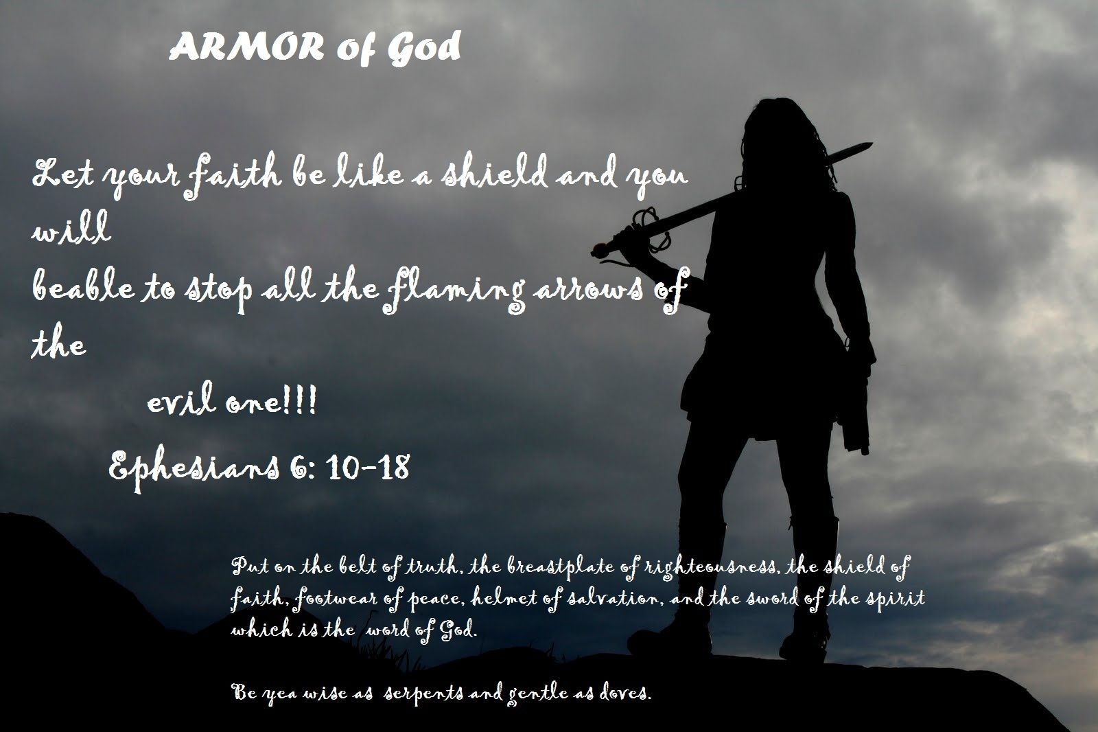 Armor of God.  I made this for a wall hanging in my kitchen to remind me of the battle we must prepare for everyday