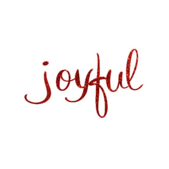 Script joyful DIY Iron On Holiday DIY Decal  Red Glitter Gold Glitter by sweetsignature