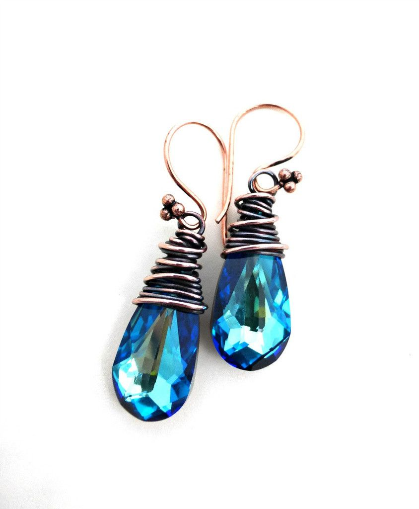 Copper wire wrapped and Blue Crystal teardro pearrings. Swarovski ...
