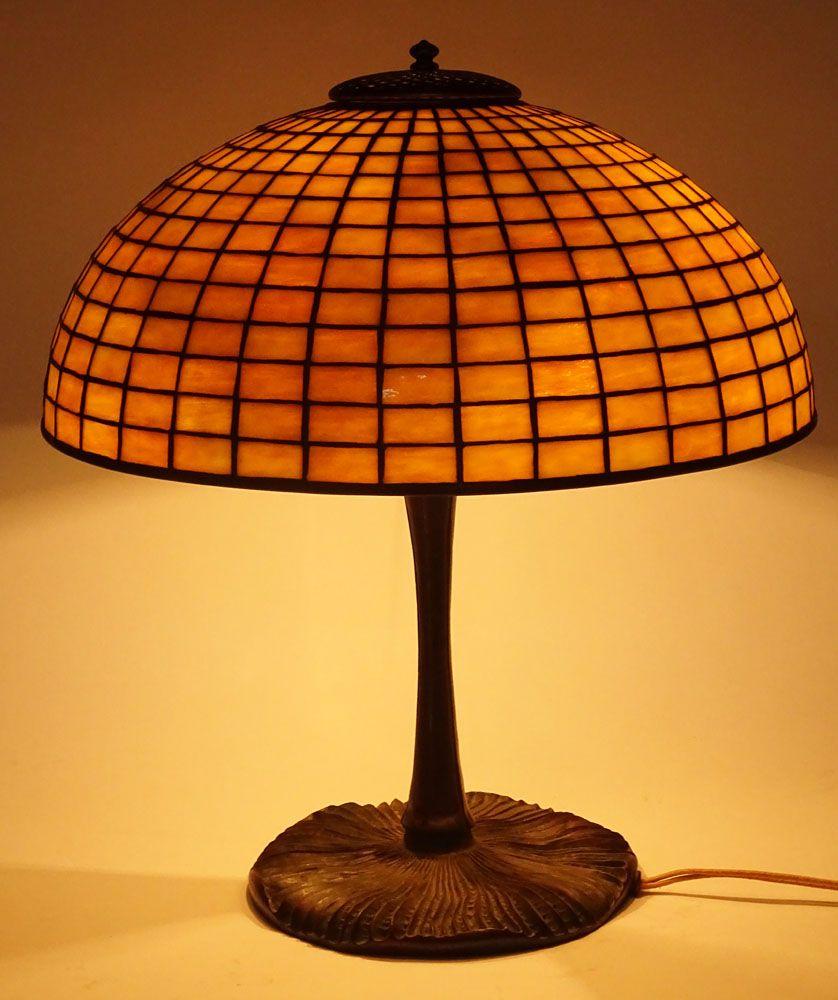 Tiffany Studios Circa 1900 Geometric Leaded Shade With Patinated Bronze Mushroom Base Shade And Base Signed Tiffany Stu Tiffany Lamps Lamp American Furniture