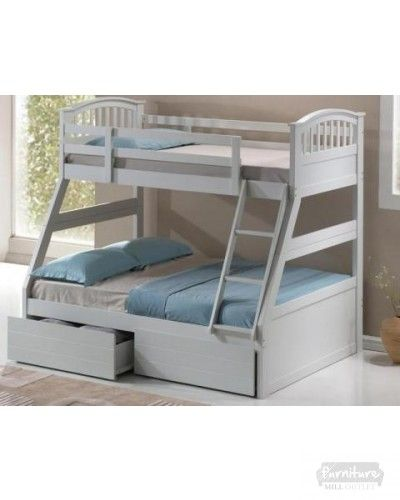 002712051495 Three Sleeper Bunk Bed- Available in Oak/ White. The bottom bunk is spacious