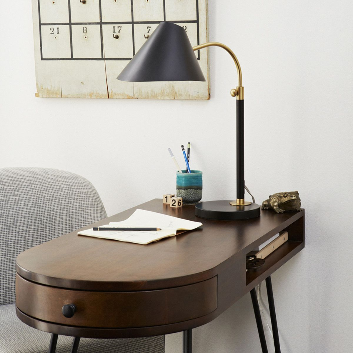 MidCentury Task Table Lamp Black West Elm / also as