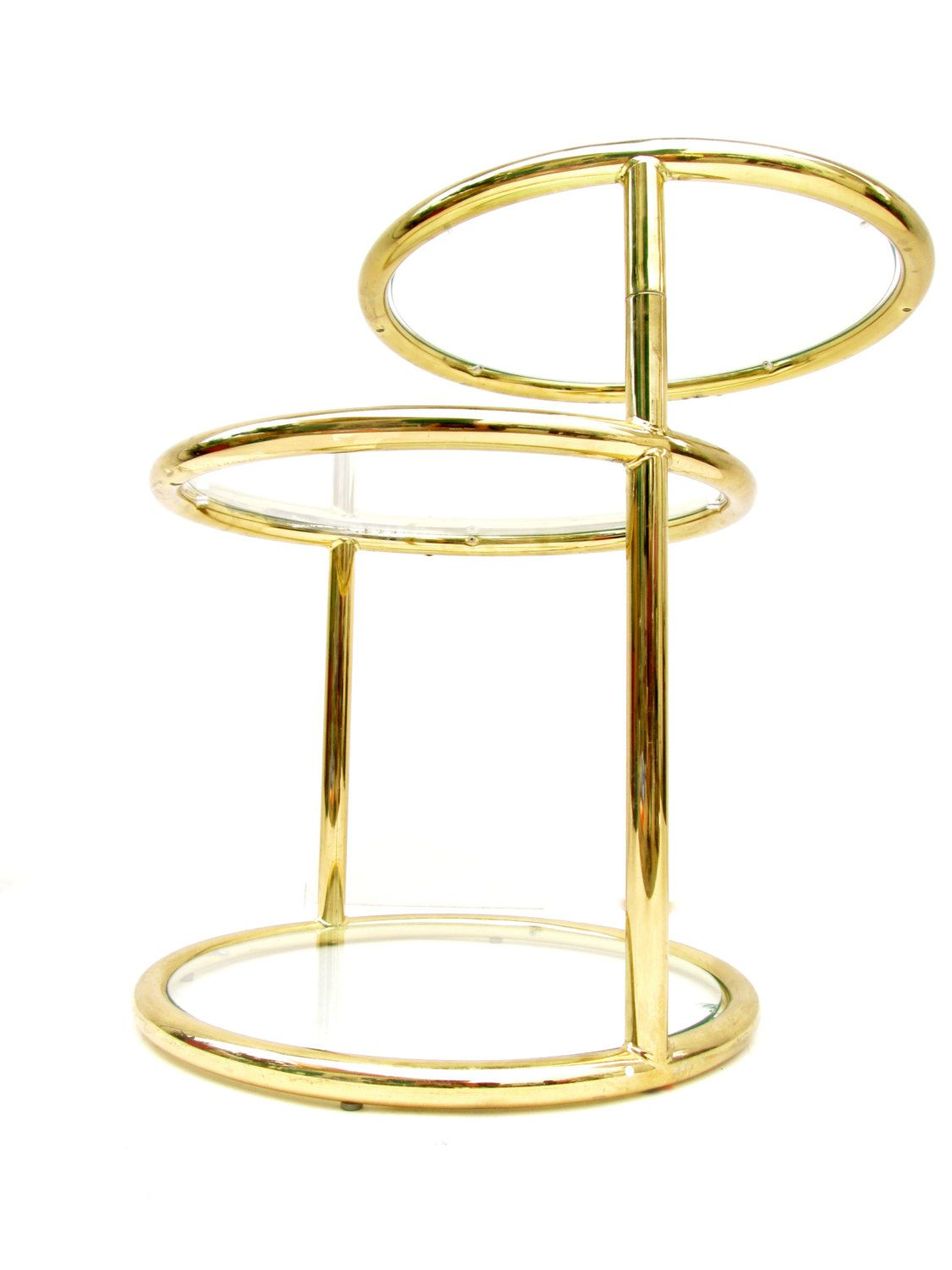 Mid Century D.I.A. Brass U0026 Glass Round Three Tier Swivel Top Rare Side Table