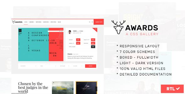 Awards - CSS Gallery Nominees Website Showcase Responsive Template  -  https://themekeeper.com/item/site-templates/awards-gallery-website-template