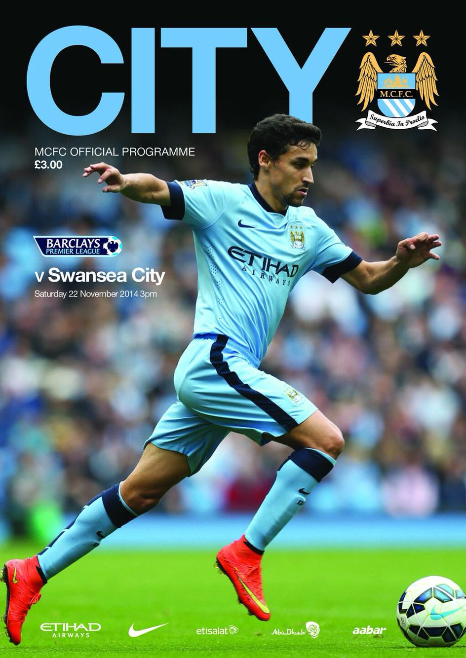 Manchester City v Swansea match programme front cover 22