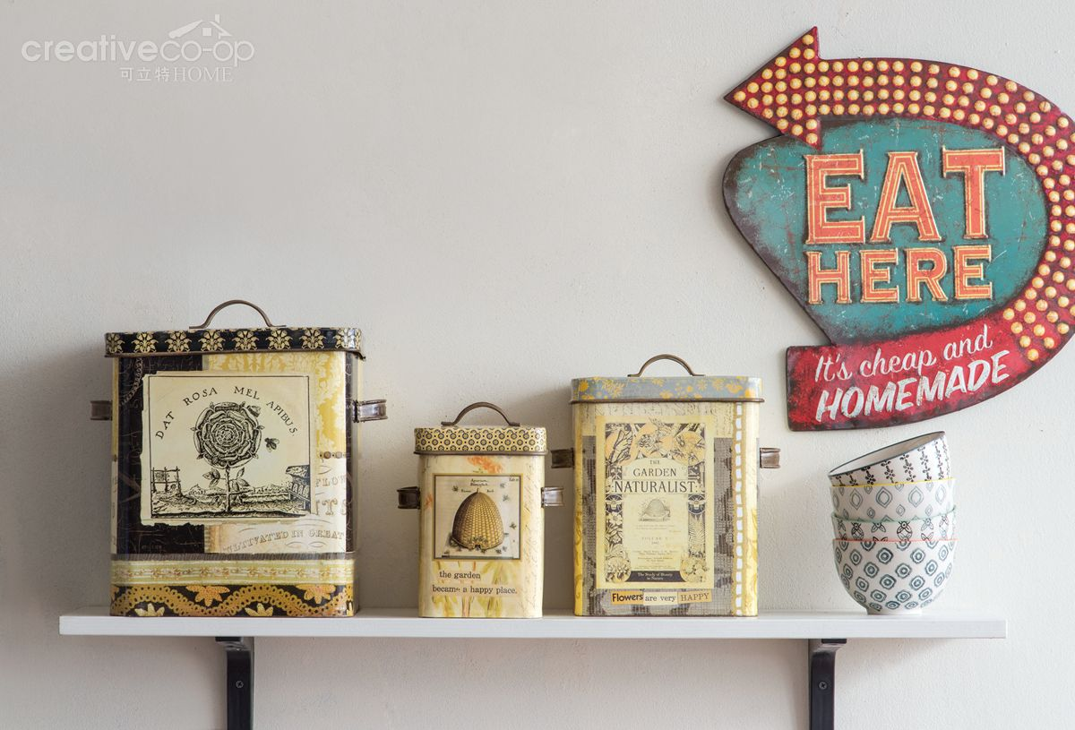 Creative Co Op Wall Decor 2016.3 maison lori decorative tin bee skep boxes & sign lori tin