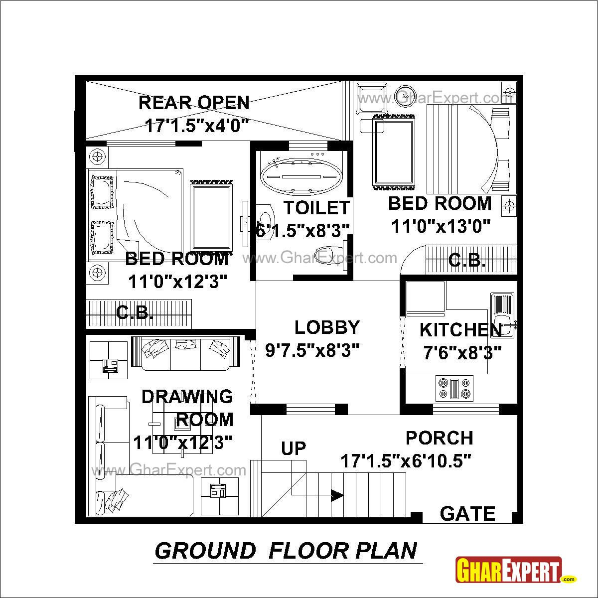 House plan for 30 feet by 30 feet plot plot size 100 for Plot plan drawing software