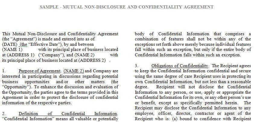 Tronmaster on - mutual confidentiality agreements