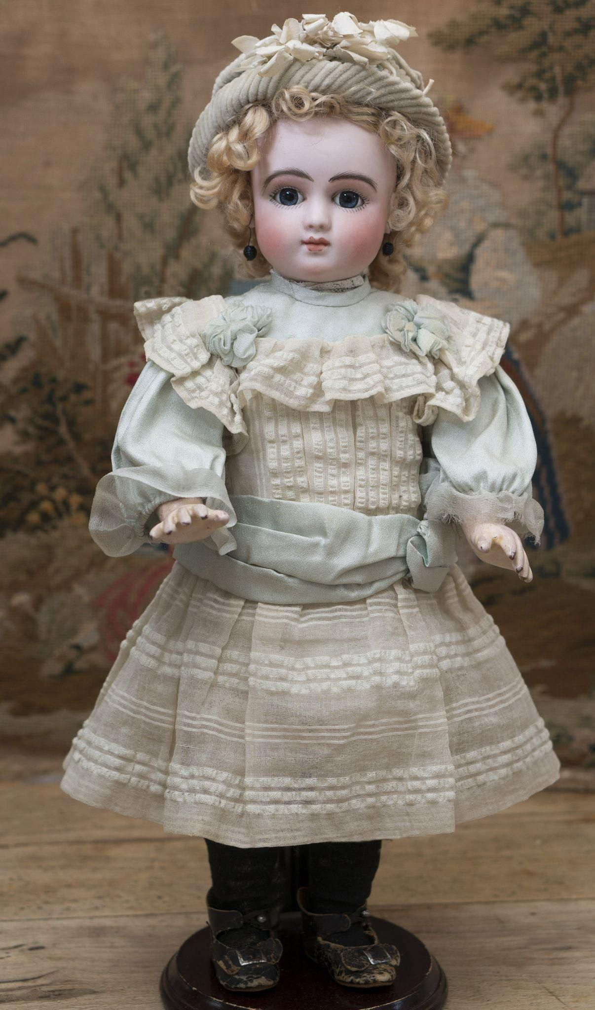 "16"" (41 cm) Antique All Original Rare French Bisque Bebe Doll Series C by Jules Steiner, closed mouth, early model Bourgoin with original deposed Steiner eye mechanism. A LAYAWAY!"