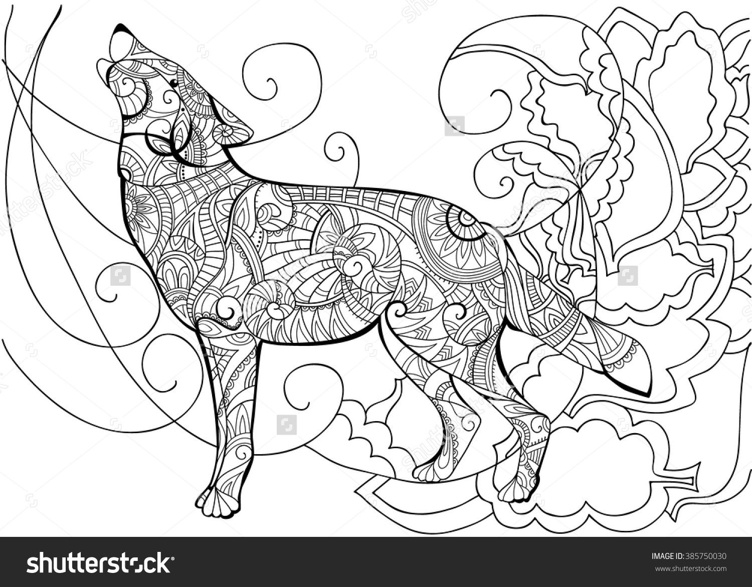 Coloring adults stress - Coloring For Adults Lace Patterns Vector Illustrations Coloring Books Body Art A Wolf Anti Stress White Lace Black And White