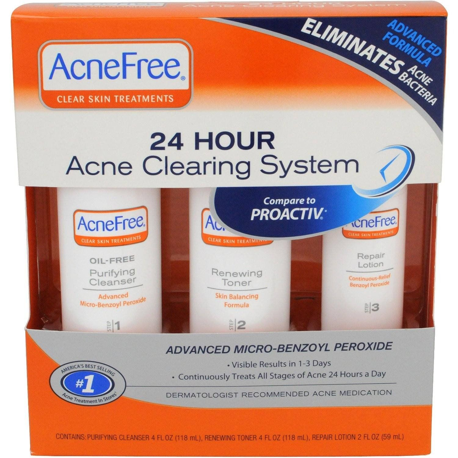The Acnefree Clear Skin System 3 Step Kit Cleans The Face Of Acne
