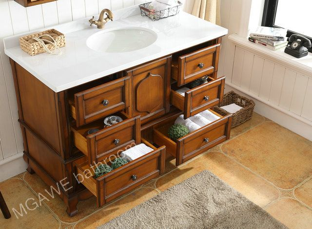How To Make Solid Wood Bathroom Vanity Set Six Drawers And One