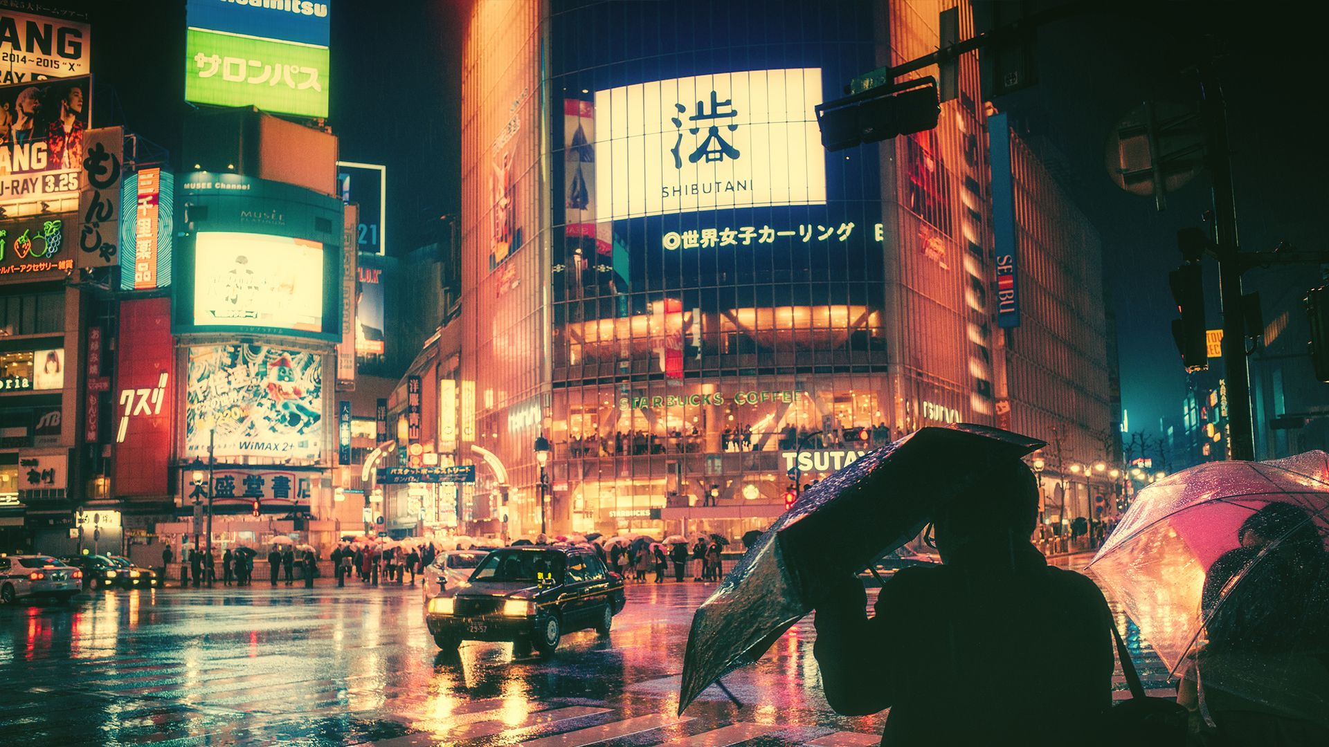 Crossing in the rain Shibuya Tokyo. [1920x1080] 写真のアイデア