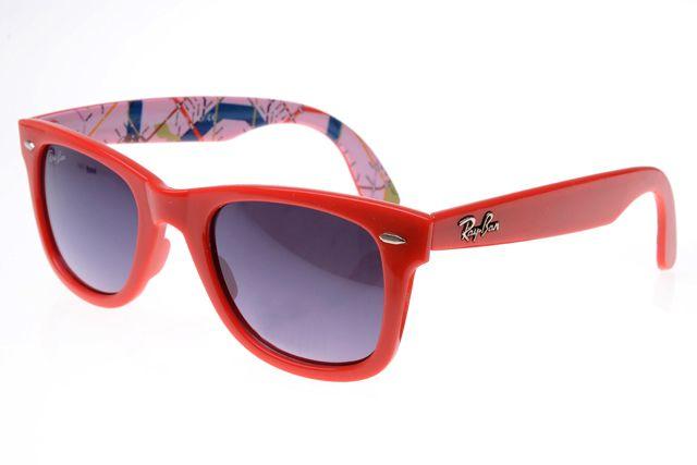 1bc2a33f079 Ray Ban Wayfarer RB2140 Sunglasses Red Pattern Frame Gray Lens