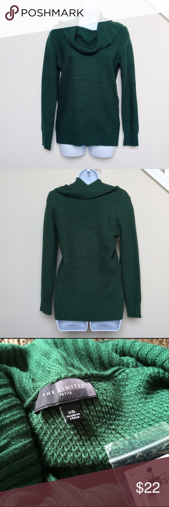 Green Cowl Neck Sweater, XSmall Petite Brand new with tags dark ...