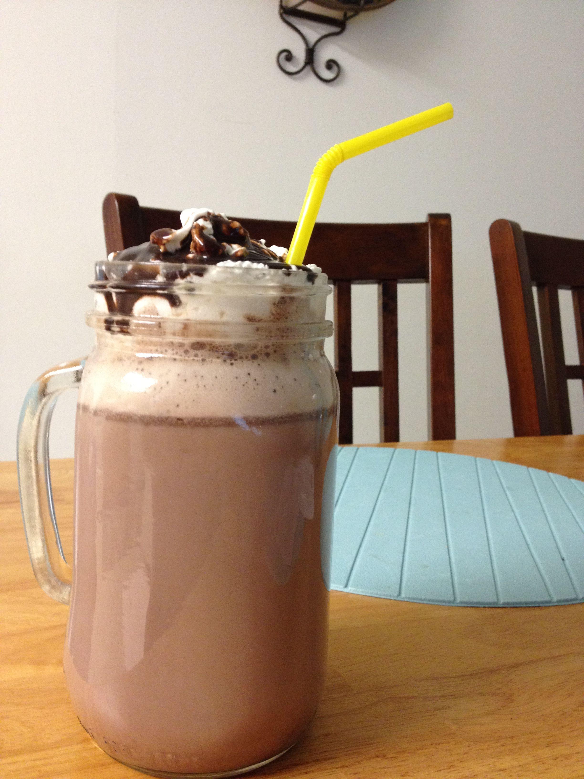 Skinny hot chocolate hot water, diet packet of powdered