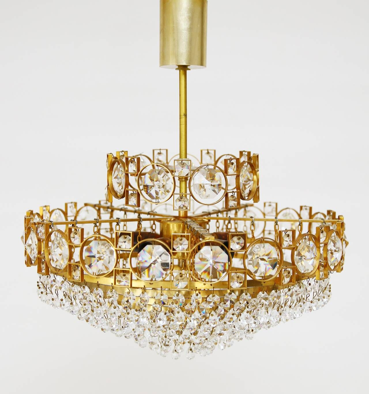 Gilt brass sciolari style crystal glass chandelier or flush mount gilt brass sciolari style crystal glass chandelier or flush mount italy 1960s mozeypictures Image collections