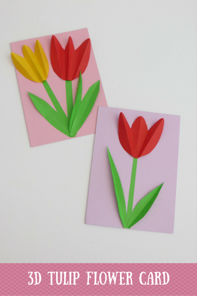 Flipping Through The Magazine I Found This Let S Make Section Where They Show How To Make A Tulip Card This Craft Idea Tulips Card Flower Crafts Flower Cards