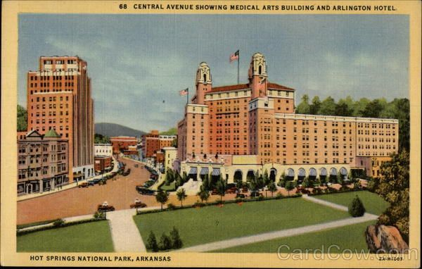 Central Avenue Showing Medical Arts Building And Arlington Hotel Hot Springs Ar Arlington Hotel Hot Springs National Park Medical Art