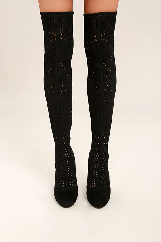 416360072d25b Sexy cutouts make the Steve Madden Eden Black Suede Cutout Over the Knee  Boots a must-have! These vegan suede