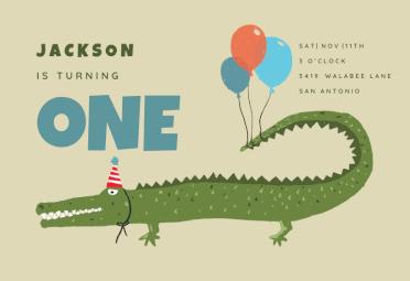 Postcard Crocodile Greeting Card Kids Invitation Children/'s Birthday Card with Child Motif