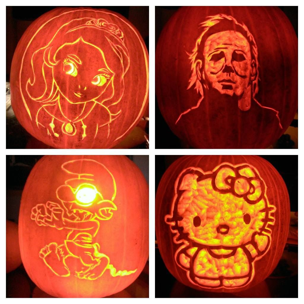 Zombie Smurf, Michael Myers, Hello Kitty, Pumpkin Carving
