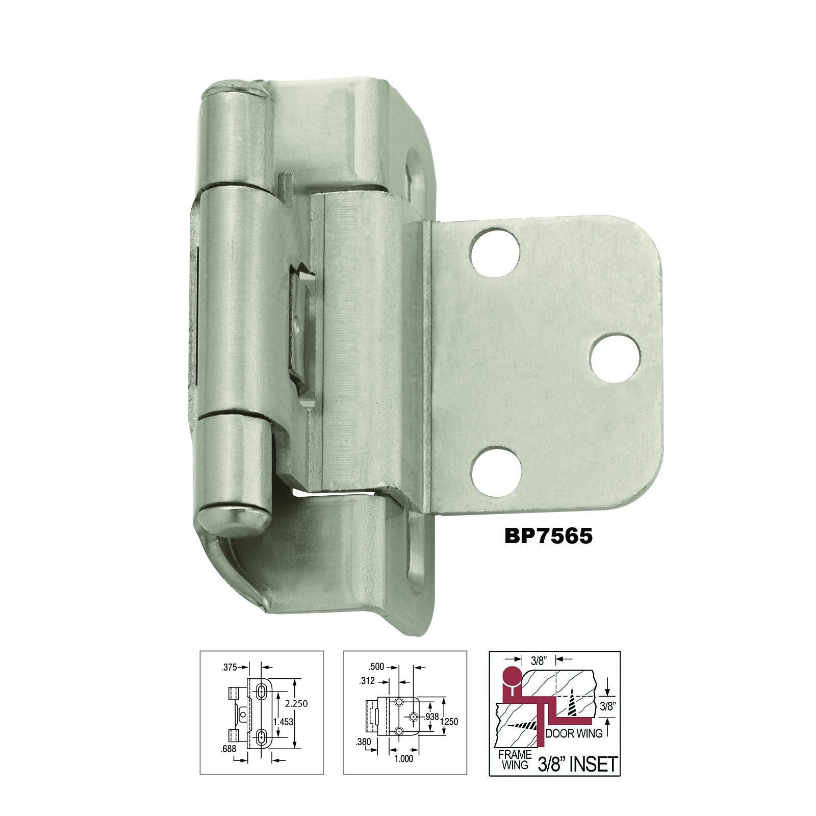 Amerock 3 8 Inch Overlay Partial Wrap Self Closing Hinge Satin Nickel Bpr7565g10 Inset Hinges Hinges For Cabinets Self Closing Hinges