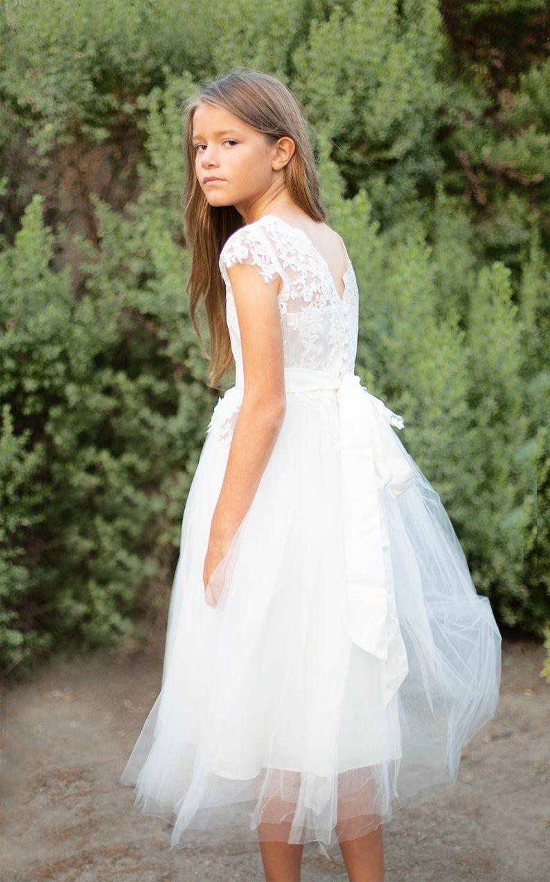 Flower girl dress lace flower girl dress ivory white