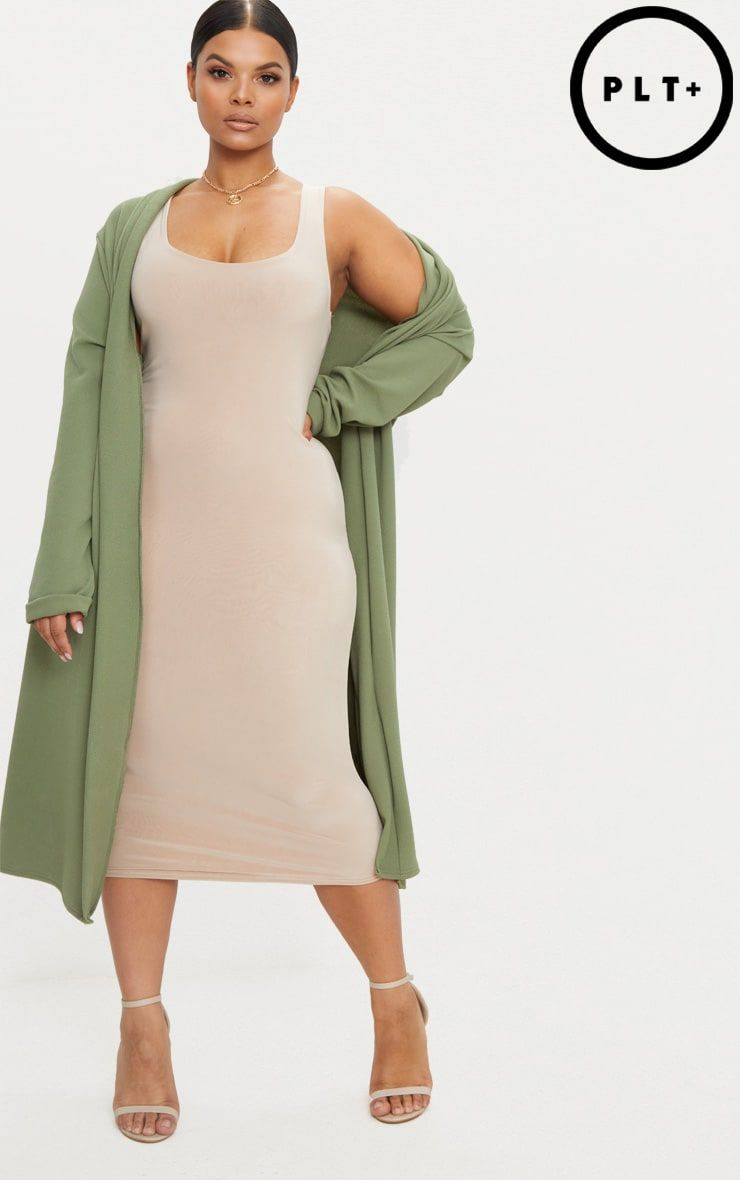 82d94ff3b23 Plus Khaki Crepe Maxi Duster Jacket in 2018