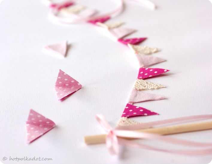 Bunting cake topper diy tutorial from HotPolkaDotcom includes