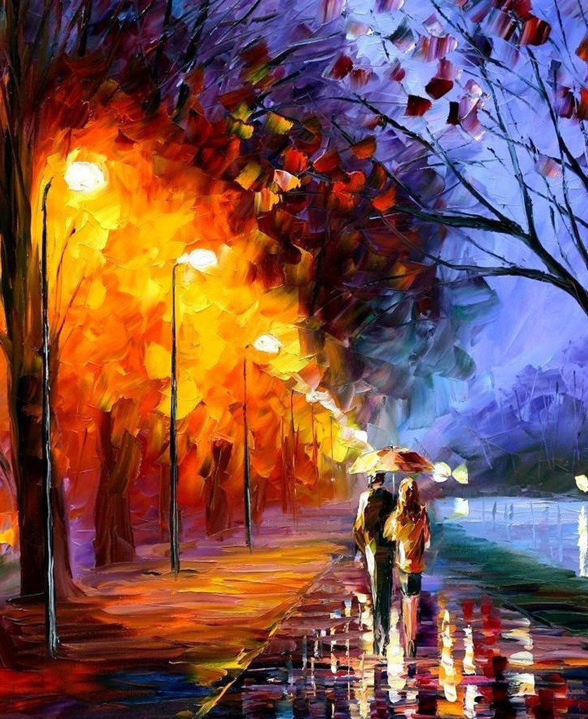 Couple in Love Painting, Bedroom Wall Art Canvas, Large ...